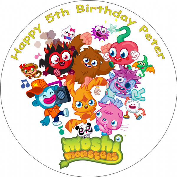 MOSHI MONSTERS PERSONALISED EDIBLE ROUND CAKE TOPPER